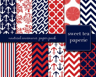 Nautical AnneMarie Digital Paper Pack (Instant Download) stripes, coral, navy, chevron, annemarie, red, nautical