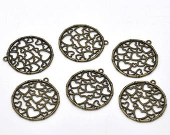 Bronze 2 charms hearts perforated metal Medallion