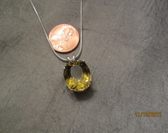 Green and Gold Cushion Brazilian Quartz Pendant