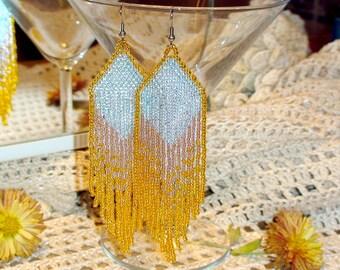 Beaded Earrings dangle earrings boho  Long seed bead earrings statement  fringe earrings