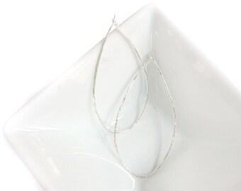 Sterling Silver Earrings, Hoop Earrings, Wire Earrings, Large Teardrop Earrings, Hammered Earrings, Silver Hoop Earrings, By Durango Rose