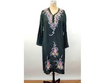 Vintage tunic hand painted floral polka dot dress boho ethnic Indian Size M
