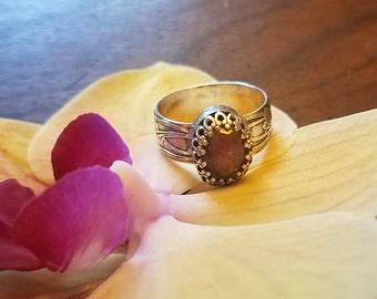 Rose Cut Pink Tourmaline Ring in Sterling