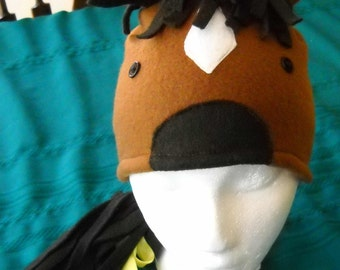 HORSE  FLEECE HAT with a mane and long braided tail