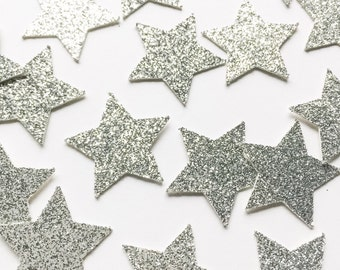 Silver Glitter Star Confetti • First Birthday Confetti • Twinkle Twinkle • Baby Shower Decor • Birthday Party Decorations