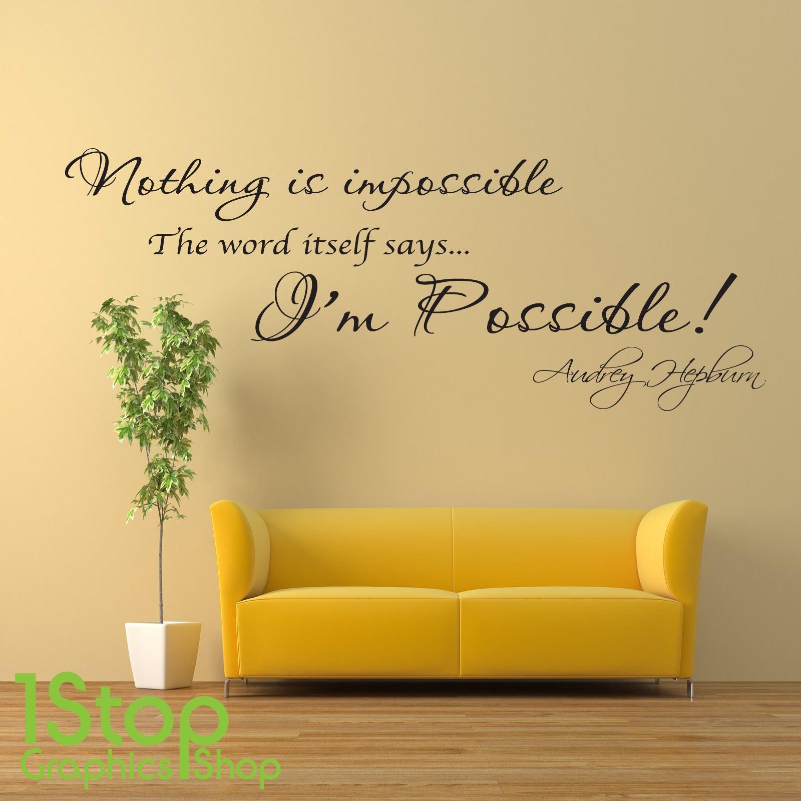 Audrey Hepburn Wall Sticker Quote Home Bedroom Wall Art