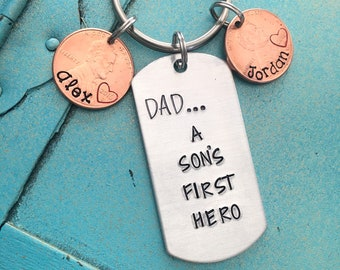 First Fathers Day Gift From Son, Personalized Dad Keychain, Daddy Key Ring, Gift For Him, Papa Keychain, Gift From Son, Birthday Gift For Da