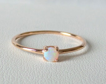 Opal Ring / 14k Rose Gold Opal Ring / Dainty Opal Ring / White Australian Opal Ring / Minimalist Opal Ring / Stackable Opal Ring / Solitaire