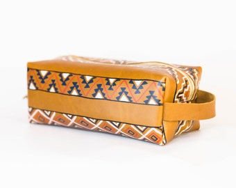 Dopp Kit Version II- VOZ x YWH Collabo/ Hand Painted Leather Toiletry Bag/ Cognac Colored Leather/ Southwestern Inspired/ Toiletry Case