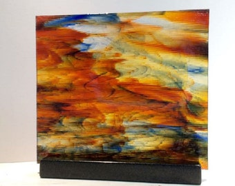 Art Glass Colorful Watercolor Textured Sunset Perfect For Your Home or Office