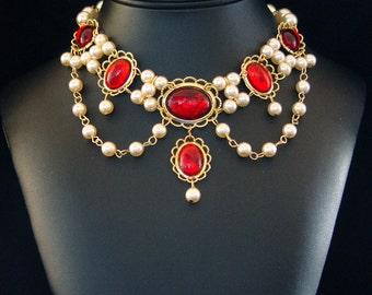 Renaissance Jewelry, Medieval Necklace, Renaissance Necklace, Tudor Necklace, Medieval Jewelry, Cosplay, Faire, Lady Emma  You Pick Colors
