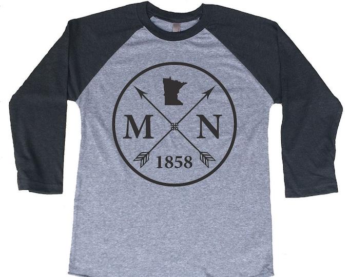 Featured listing image: Homeland Tees Minnesota Arrow Tri-Blend Raglan Baseball Shirt