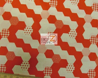 """Hexies Red By Michael Miller 100% Cotton Fabric - 45"""" Width Sold By The Yard (FH-990)"""