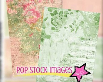 Digital Collage Sheet ATC Cards - Shabby Pastels and Roses Digital Backgrounds #4 - Collage - Altered Art - Journaling Card - Scrapbooking