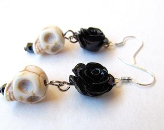 Rosa Calavera dangle earrings-black rose (rose skull flower, skull earrings, Halloween, dia de los muertos, day of the dead, turquoise)