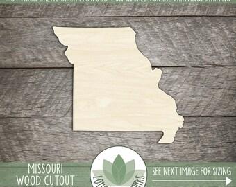 Missouri, Unfinished Wood Missouri Laser Cut Shape, DIY Craft Supply, Many Size Options, Blank Wood Shapes