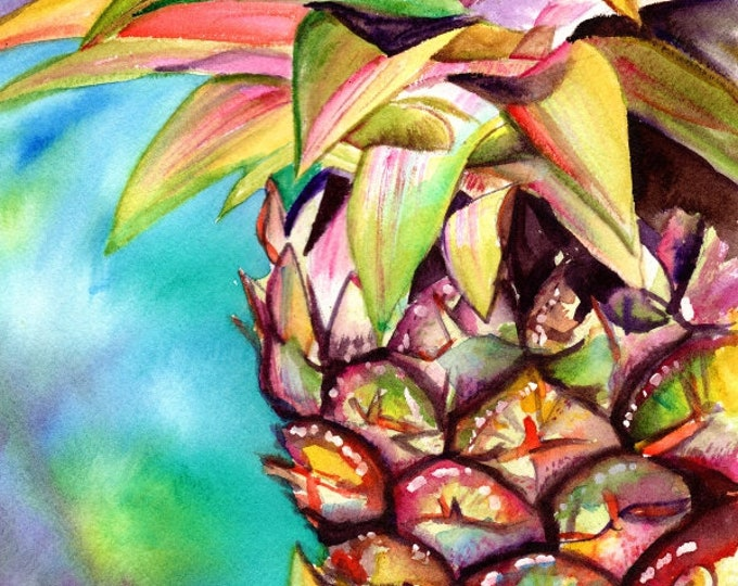 pineapple art prints,  8x10, hawaiian pineapples, kauai decor, pineapple watercolors, hawaiian pineapple paintings, hawaii maui oahu, fruit