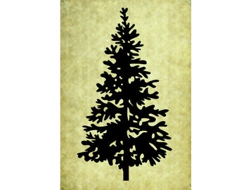 RUBBER STAMP Pine Tree~Silhouette Christmas Evergreen~Large Tree~DIY Holiday Card Making~Unmounted Cling Stamp~Mountainside Crafts  (50-05)