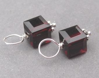 Garnet Birthstone Charms, Swarovski Crystal Cube Birthstone Charms, Bracelet Charms, January Birthstone Charm