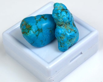 77.35 Ct Natural Arizona Mine Kingman Turquoise Authentic Gemstone Rough Pair