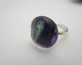 purple and dichroic glass ring set on sterling silver