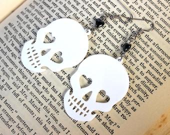 White Acrylic Skull Earrings with Hematite Heart Beads - Halloween Goth Psychobilly