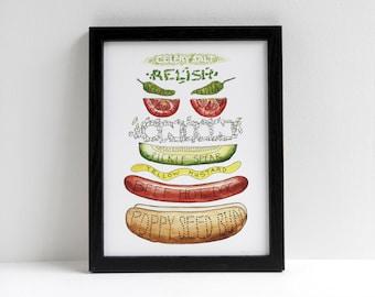 Chicago Hot Dog Diagram Watercolor print // hotdog