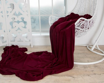 Luxury Italian Wool Viscose Angora Sweater Knit Fabric BURGUNDY WINE Knitted Tricot Jersey Mediumweight Soft Natural by the yard Sewing DIY