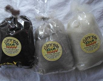 Natural Wool Roving - The Basics, 50g single shade, natural fleece