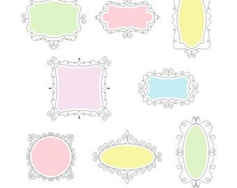 8 Piece Pastel Doodle Frames, Digital Doodle Frames, Doodle Clip Art, Doodle Clipart, Doodle Labels