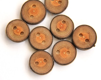 8 small round buckthorn wood buttons with bark - 3/4 Inch