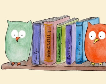 Bookends - Owl Library Book Art Print - library, literature, watercolor, art