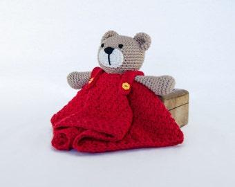 Teddy Bear Lovey / Security Blanket - PDF Crochet Pattern - Instant Download - Blankie Baby Blanket
