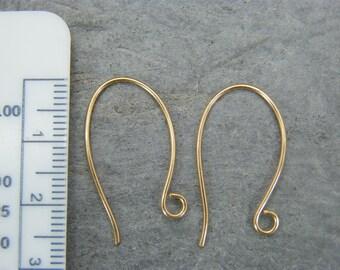 Gold filled ear wires ~ Oval ear hooks ~  Ear hook wire findings - Handmade Jewelry Supplies - Ear wires - Artisan findings ~ Gold ear hooks