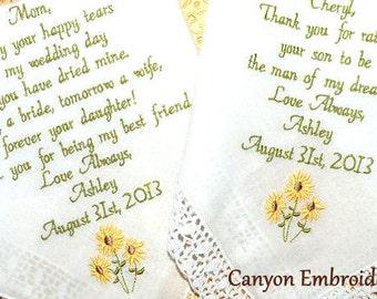 Embroidered Wedding Handkerchief, Sunflowers, Sunflower Wedding Theme Rustic Gift for Mom Gift for Mom Inlaw Sunflowers by Canyon Embroidery