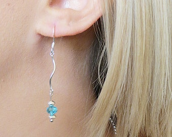 Silver Curvy Dangle Earring with Blue Crystal, SE-91.