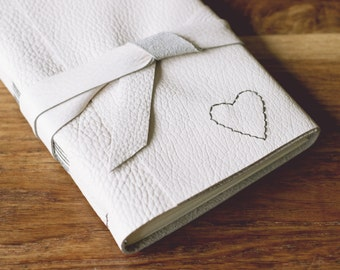Love Heart Leather Journal - 6 x 4 Hand Embroidered Blank Book - A6 Soft Wrap Cover