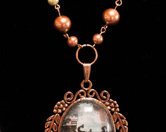 Garden Gate - Large Domed Necklace - gold with pearl beads