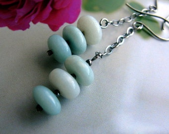 Long Sterling Silver Dangle Earrings, Aqua Blue Amazonite Earrings