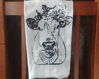 Farmhouse Flour Sack Towel Cora the Cow Custom Screen Print