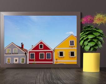 PHOTO PRINT, colorful photography, houses photo, wall art, printed photography, photo prints, blue sky photo, blue sky canvas, canvas art