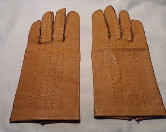 Vintage Yellow Leather Gloves - NEW