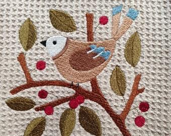 Bird in Berries (Beige) - Microfiber Waffle Weave Kitchen Hand Towel