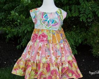 CHELSEA BUTTERFLY TWIRL Dress, Girls Birthday Dress, Pink Blue Butterfly Floral Dress, Sister Dresses,