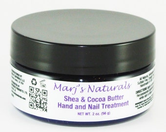 100% All Natural Shea and Cocoa Butter Hand and Nail Treatment with Moroccan Argan Oil, Hyaluronic Acid and Sweet Almond Oil