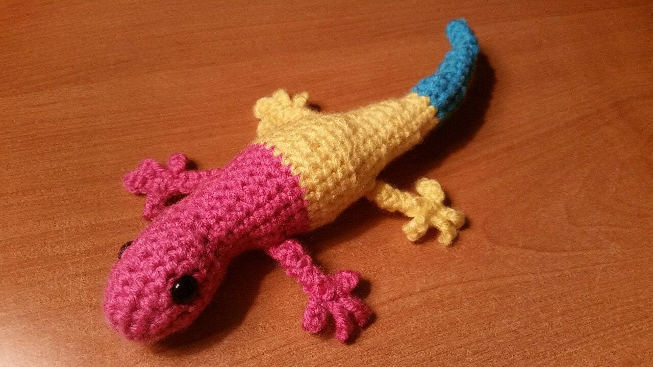 Pansexual stolz Gecko Amigurumi Häkeln Spielzeug