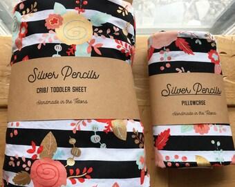 Sheet & Pillowcase Set, Crib, Toddler, Fitted, Floral, Striped, Metallic Gold, Black, White, Bedding, Nursery Decor, Baby Shower Gift