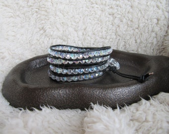 Beaded Leather Wrap Bracelet with AB Crystals