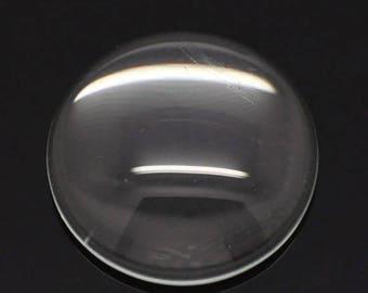 10 cabochon 8 mm round transparent glass