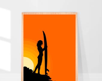 PDF Printable Wall Art - Surfer Sunset Silhouette - Makes A Great Gift - Contemporary Modern Print - Abstract Art PDF File INSTANT Delivery